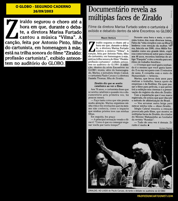 """Documentário revela as múltiplas faces de Ziraldo"" - O Globo - 26/09/2003"