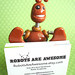 Brown Barry Robot Sculpture Business Card Photo Holder