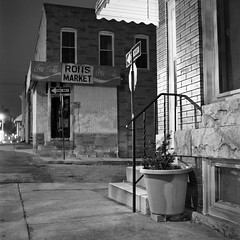 (patrickjoust) Tags: street city urban bw usa white house black 120 6x6 tlr blancoynegro film home sign night analog america dark square lens us reflex md focus long exposure mechanical cola market united release tripod north patrick twin maryland cable row baltimore mat 400 200 124g diafine after medium format states manual rons 80 joust edu coca developed ultra yashica remington rowhouse develop rowhome estados 80mm f35 blancetnoir unidos yashinon fomapan arista rebranded schwarzundweiss autaut rebadged patrickjoust
