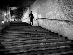 Street Photography: Below the the city (jfraile (OFF/ON slowly)) Tags: barcelona street espaa night stairs noche spain shadows streetphotography tunnel catalonia catalunya tunel sombras catalua escaleras mygearandme jfraile javierfraile vision:text=0714 vision:outdoor=0967 vision:ocean=054 vision:sky=0693