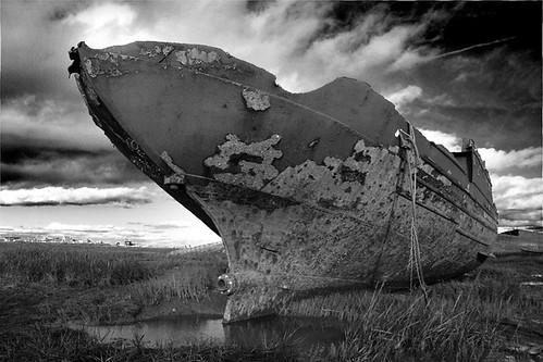 Wreck on the River Wyre 3(Black and white version)