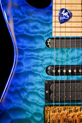 Jackson PC-1 in Chlorine Blue (ArtBrom) Tags: blue macro gold nikon guitar jackson strings d200 fingerboard pickups pc1 105mm floydrose curlymaple top20blue mapletop quiltedmapletop
