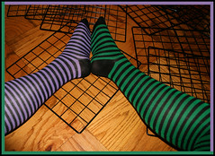 IMG_0578 (Morningstar1369) Tags: black color green art feet lines socks foot colorful purple leg grids stripy kneesocks kneehighsocks catchcolors stripysocks overthekneesocks