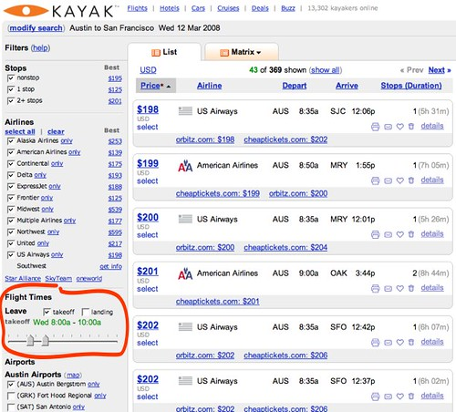 Kayak.com: AUS-SFO Flight Time filter