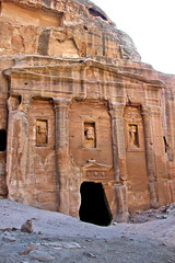 The Soldier's Tomb named because of the uniform on the statue above the entrance. Petra, Jordan