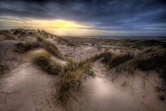 Windswept. (BarneyF) Tags: sunset sea sky grass sand wind seat dunes marsh ainsdale southport hdr merseyside aplusphoto betterthangood 7exposure