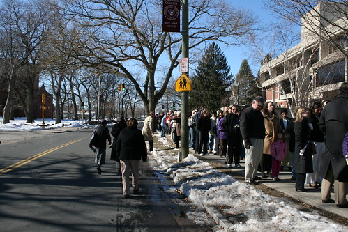 Waiting in line at Springfield College. Photo by H Brandon