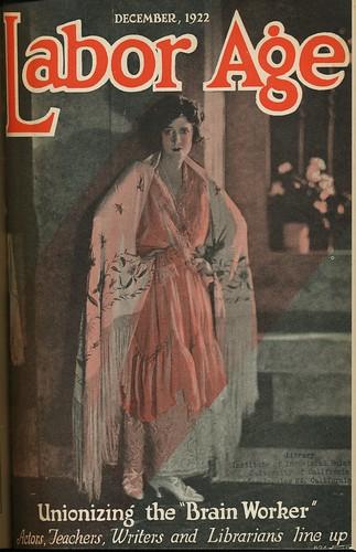Ausgabe Dez. 1922 der Zeitschrift Labor Age mit dem Titel Unionizing the brain worker