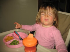 Madelyn eats pink grits!