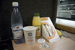 Breakfast (Andreas Fabbe) Tags: morning water train juice gothenburg sandwich pills coffe banan