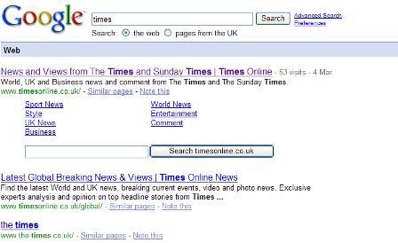 Google search: times