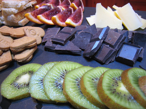 Basque Dark Chocolate from Spain, Blood Oranges, Ginger Snaps, 2 Delicious Cheeses, Kiwi and Fresh French Bread