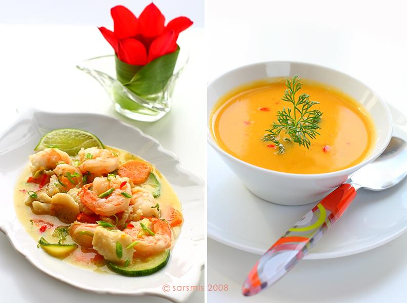 суп и креветки с рыбой