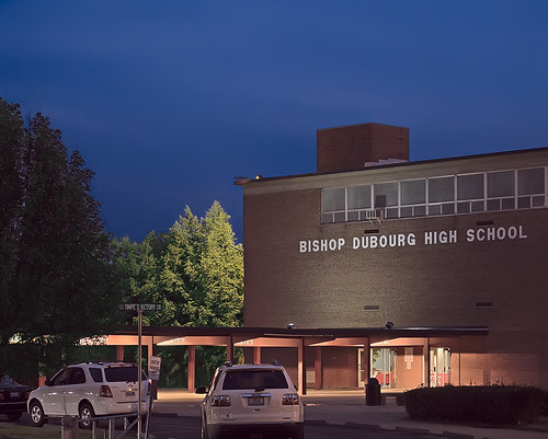 Bishop Dubourg High School, in Saint Louis, Missouri, USA - exterior at dusk