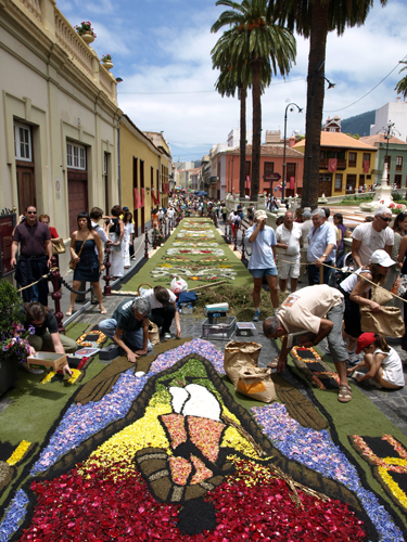 Flower carpets fill the streets