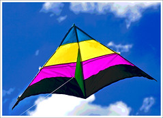 Posterized Delta Kite (hz536n/George Thomas) Tags: pink blue summer sky kite green oklahoma yellow stillwater 2008 posterized cs3 canon30d canonef70200mmf4lusm