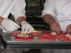 Pierre Hermé: Placing the raspberries and chopped litchis for Ispahan Entremet