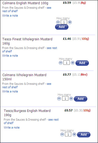 Tesco Mustard Pricing