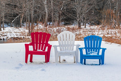 Winter Red, White, And Blues (John Kocijanski) Tags: chairs bench hbm winter snow canon24mmf28stm