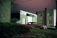 (patrickjoust) Tags: frackville pennsylvania schuylkillcounty car mechanics shop fujicagw690 kodakportra160 6x9 medium format 120 rangefinder c41 color film cable release tripod long exposure night after dark manual focus analog mechanical patrick joust patrickjoust usa us united states north america estados unidos schuylkill county pa truck auto automobile vehicle parked garage