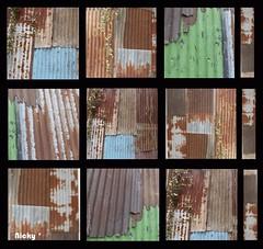 De tôles et de rouille . . . Rust . . .SoS  lines and stripes (nickylechatreux) Tags: rouille tôle montage smileonsaturday lines sripes stripes