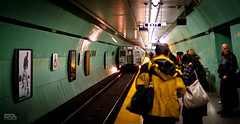 Train in Station (Robert Brienza) Tags: 2011 canada canon7d lightroom primelens sigma30mmf14 toronto urban subway ttc publictransportation stpatrickstation bokeh dof