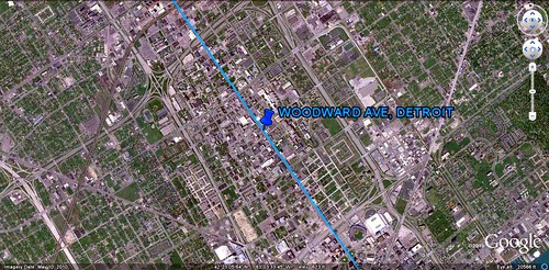 Woodward Ave marked in blue (via Google Earth)