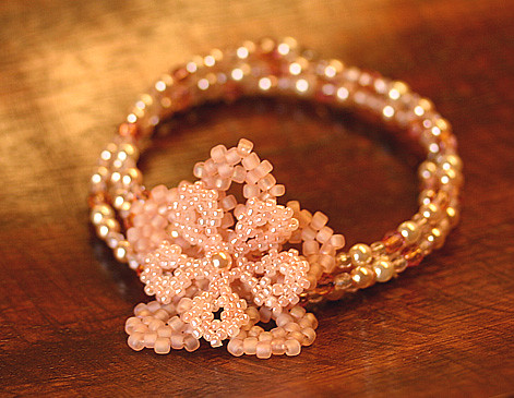 Pink Flower Memory Bracelet