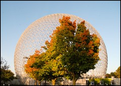 Sphere Prisoners (Tho La Photo) Tags: autumn trees red orange canada green fall monument nature colors architecture automne season rouge montral couleurs bluesky vert arbres illusion sphere qubec biosphre parcjeandrapeau