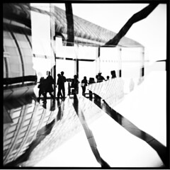 Extraterrestrial (Sissi.) Tags: bw 120 6x6 film japan square toy tokyo holga doubleexposure experiment whatdoyousee roppongi ilford board