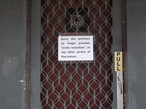 "Sorry, this premises no longer providers ""erotic relaxation"" or any other service of that nature."