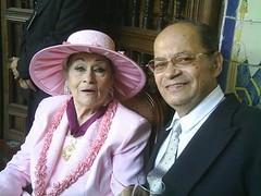 Cantante Yma Sumac y periodista taurino Ángel Parra