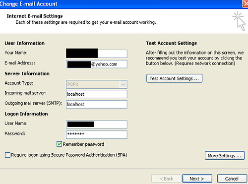 Yahoo! mail using Microsoft Outlook settings