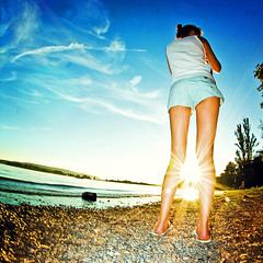 i could not care less about winter (frischmilch) Tags: blue sunset summer sky lake beach girl standing germany legs frombehind bodensee sunstar badenwürttemberg bodenseecamp bodenseecamp2007