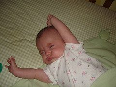Baby waking up and stretching