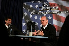 Tom Robinson, of KSOM, moderates the Radio Town Hall with Fred