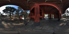 Under the main gate of Zojo-ji temple (heiwa4126) Tags: panorama japan geotagged temple tokyo gate 360 panoramic hdr 360x180 hdri zojoji sanmon ptgui equirectangular photomatix geo:lat=356572853 geo:lon=1397499106