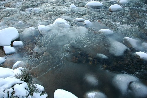 Snow topped stones in icy Luibeg burn