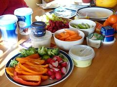 Brunch (uninorth13) Tags: food orange candles broccoli grapes carrot brunch raspberry radish celery