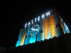 Eastern Building, downtown Los Angeles (jericl cat) Tags: building tower clock monument architecture losangeles downtown neon district broadway landmark artdeco zigzag