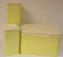 "retro yellow breadbox & canister set for sale • <a style=""font-size:0.8em;"" href=""http://www.flickr.com/photos/85572005@N00/2282504435/"" target=""_blank"">View on Flickr</a>"