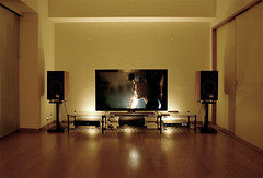Living Room -Blade Runner- (Clark Tanaka) Tags: wood brown white black reflection wall lights living back dvd cd room cables rack movies blinds hd plasma toshiba blade lit flooring runner audio pioneer speakers hifi soundtrack jbl stands denon