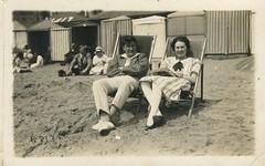 Bon & Jack at Hastings, Sussex (Martin Isaac) Tags: beach sepia vintage found sussex seaside deckchair hastings arcadialost bonjackathastingssussex b8136