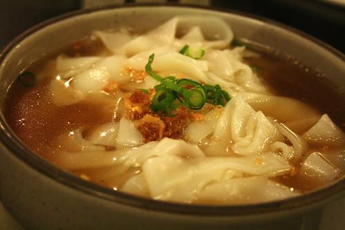 fish cake noodle soup (wide rice noodles)
