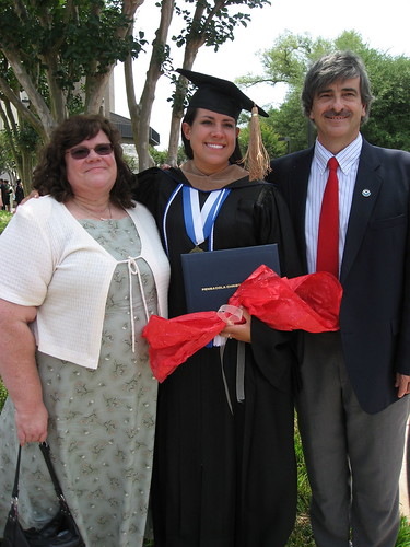 Christy with her proud parents.
