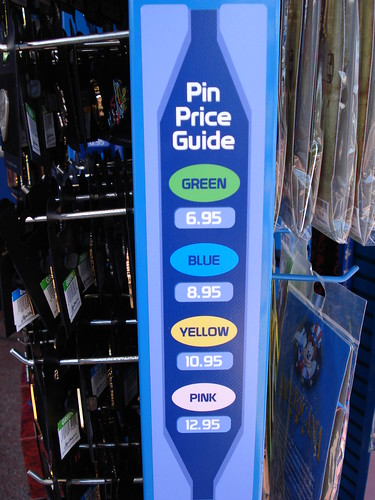Here's the new Price Pin Guide that's being implemented at the EPCOT's Pin Central.  Each color is a different price.