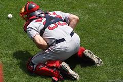 Tek Spews a Baseball (Harpo42) Tags: trip game md baseball redsox baltimore os squat captain catcher orioles camdenyards bullpen mlb jasonvaritek june12008