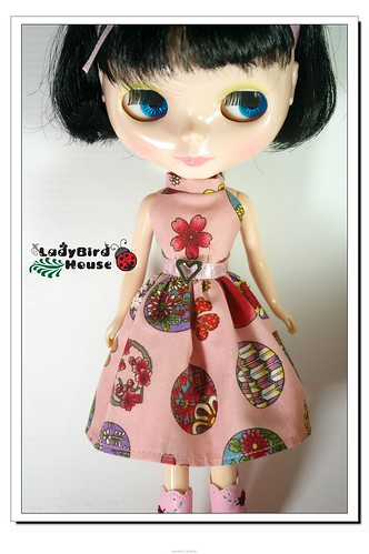 Blythe Outfit Pink Flower Dress by ladybird house.