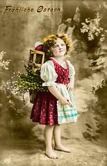 Ostergruß 1909 (zimmermann8821) Tags: atelierfotografie blumen blumenarrangement bluse fotografie fotografiekoloriert frisur gruskartefeiertag kind kleid ostern postkarte österreichungarn ostergrus osterei schürze korb tragekorb osterkarte osterpostkarte