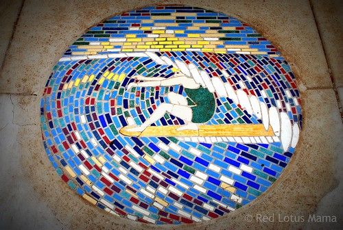 surf sidewalk mosaic medallion